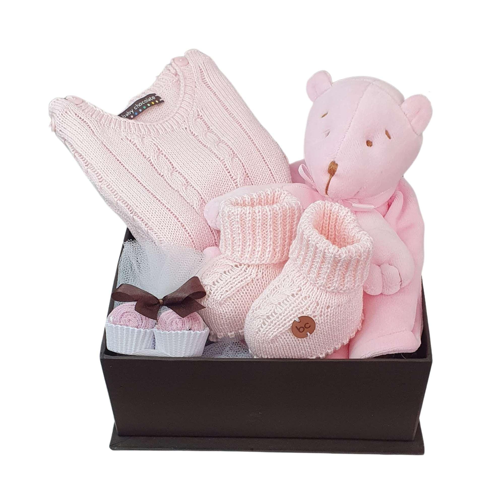 Caixa Presente Bebê Naninha Tricot Rosa