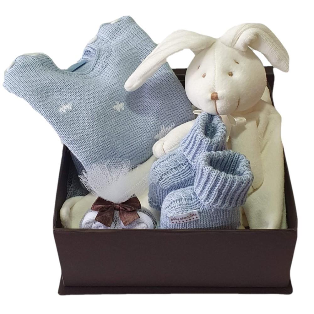 Caixa Presente Bebê Naninha Tricot Azul