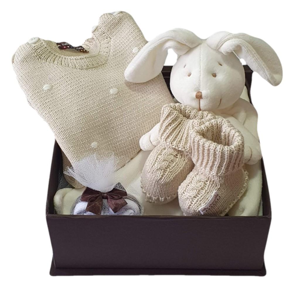 Caixa Presente Bebê Naninha Tricot Bege