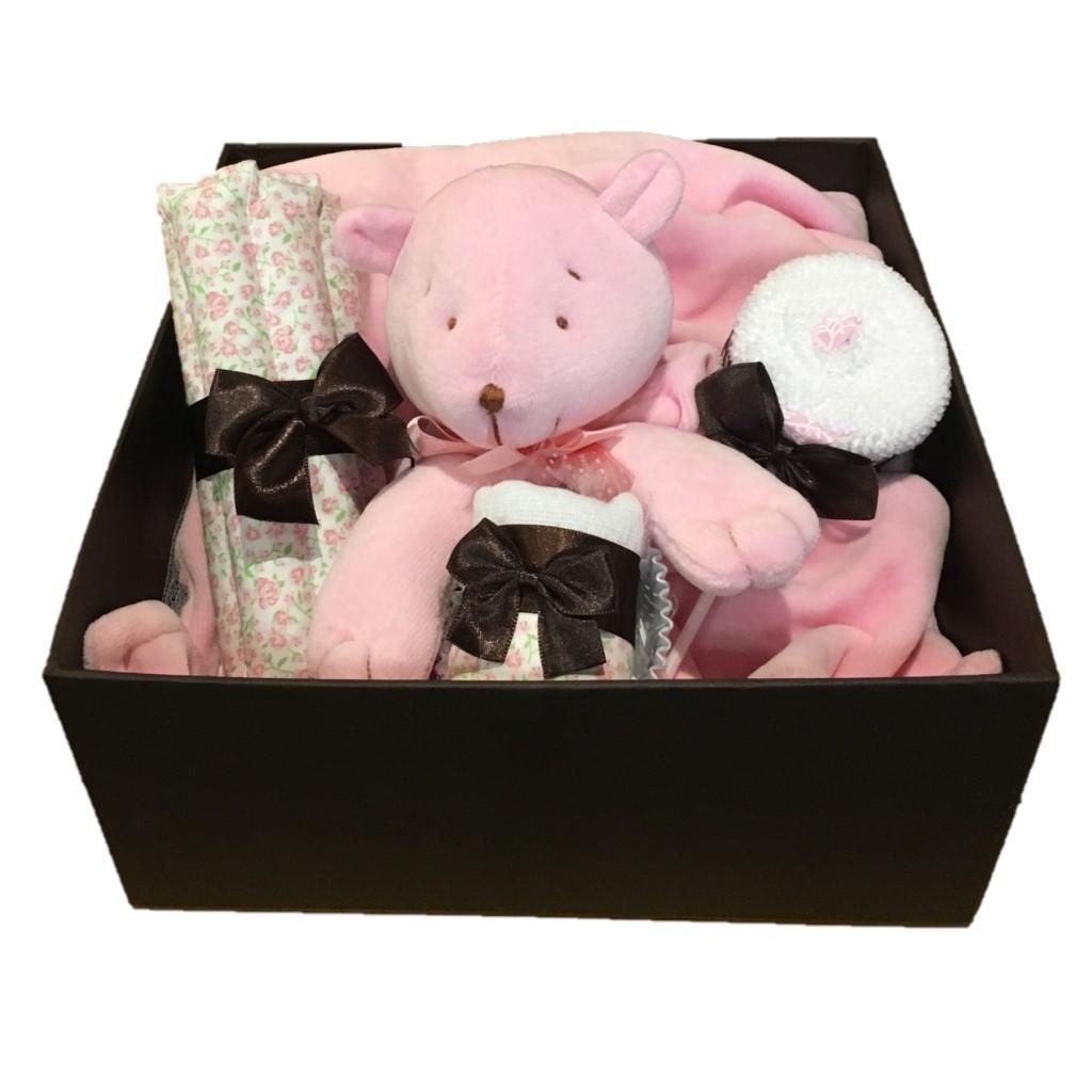 Caixa presente bebê Ursa Rosa