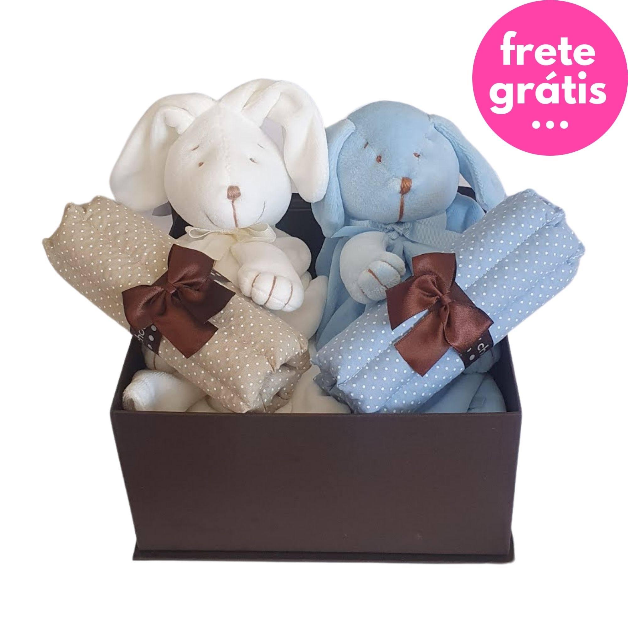 Kit Presente Baby Gêmeos Bege/Azul - 4 peças