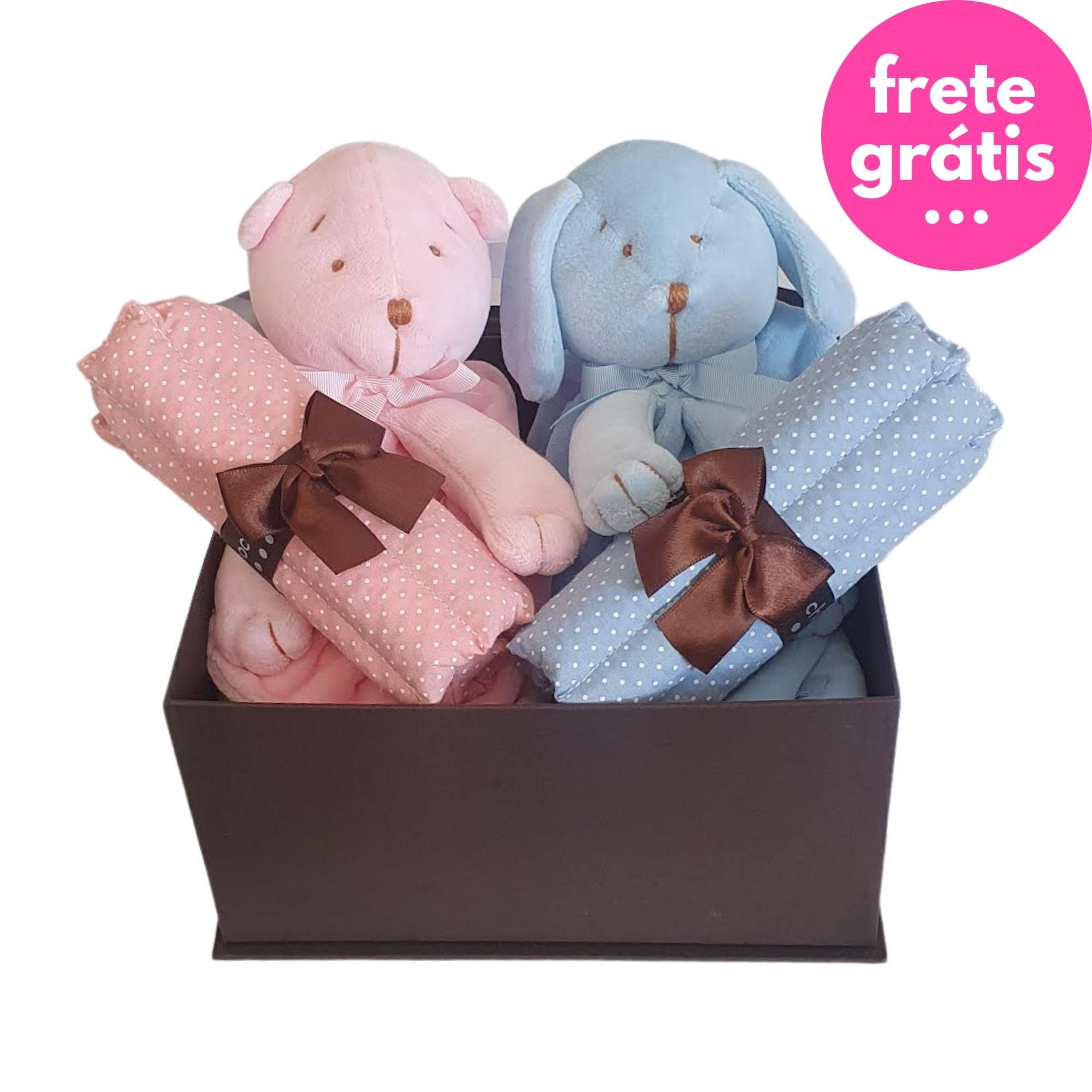 Kit Presente Baby Gêmeos Rosa/Azul - 4 peças