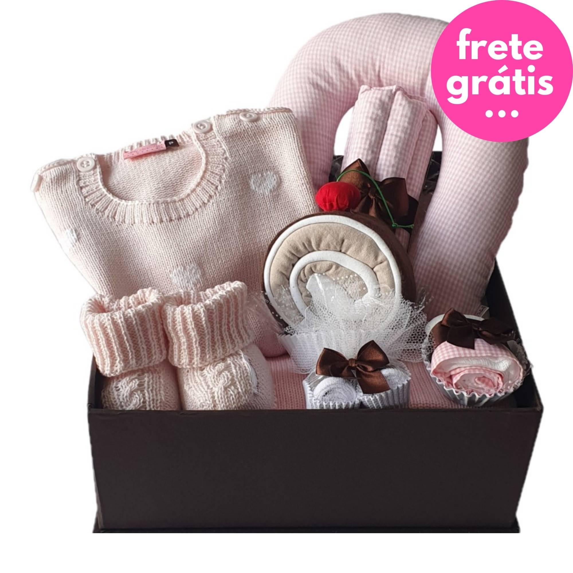 Kit Presente Baby Premium Coração Rosa - 8 peças