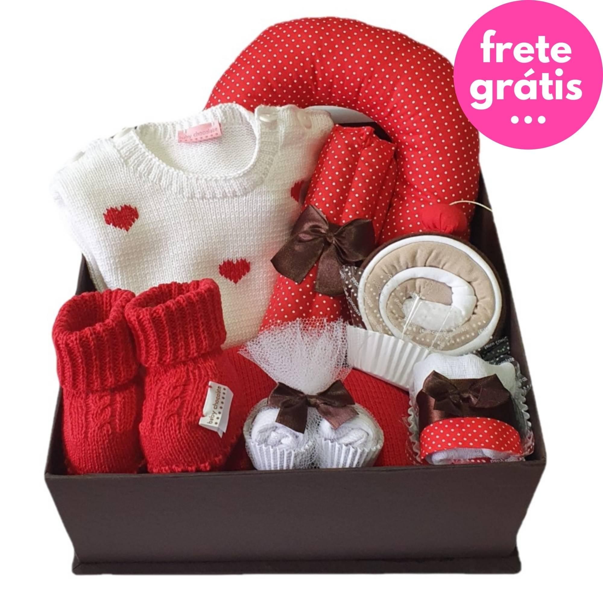 Kit Presente Baby Premium Coração Vermelho - 8 peças