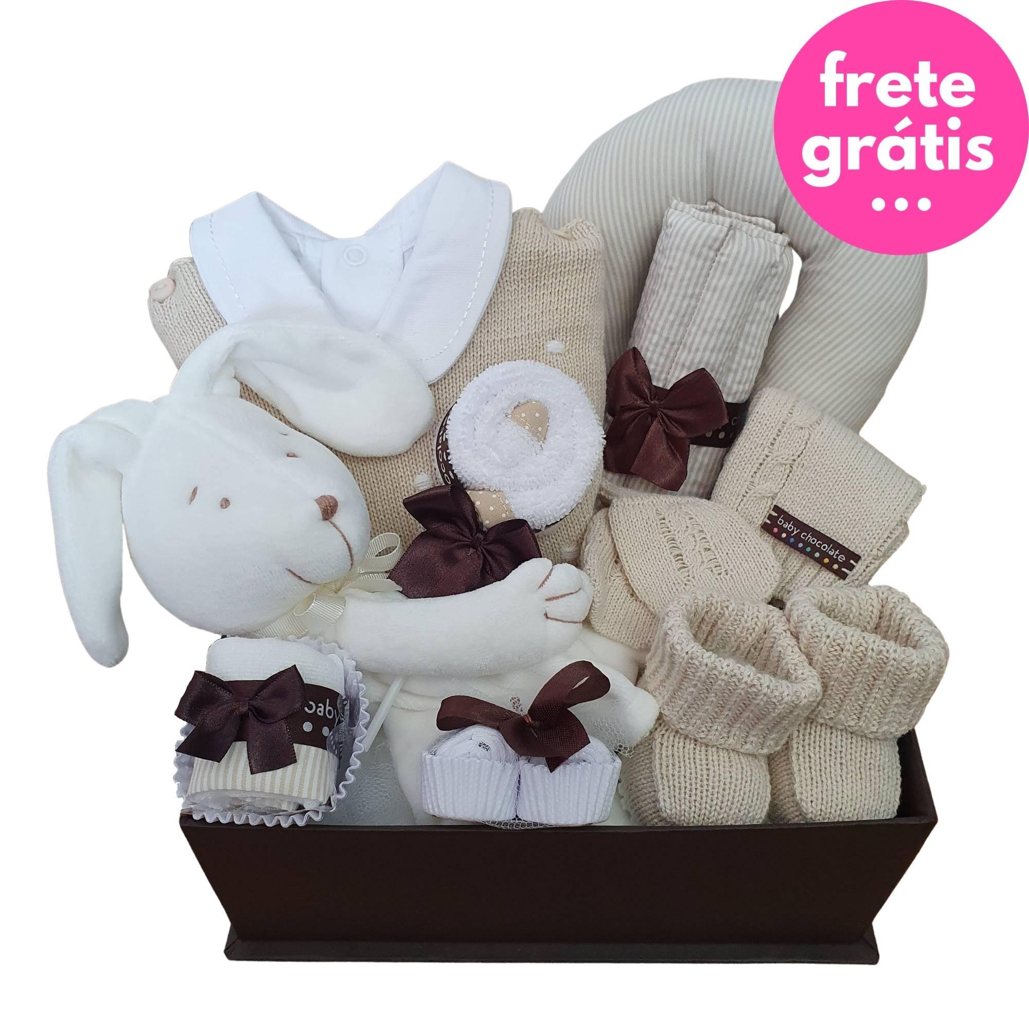 Kit Presente Baby Saída de Maternidade Premium Bege - 13 peças