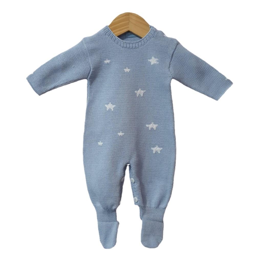 Macacão Tricot Azul Estrela