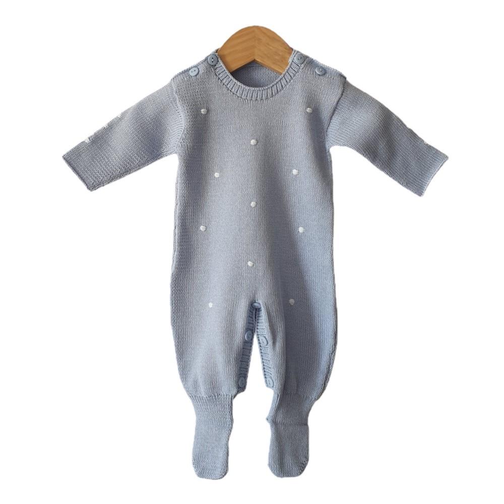 Macacão Tricot Bebê Poá Azul