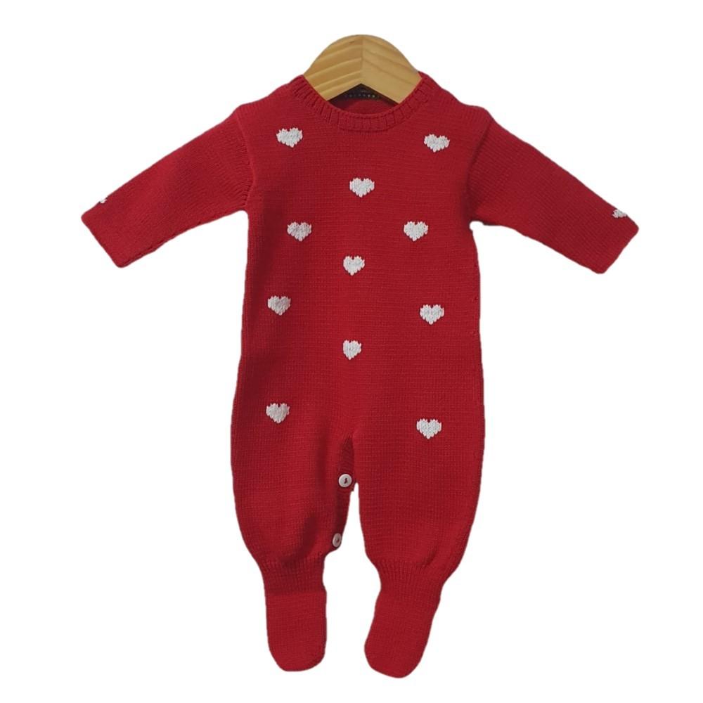 Macacão Tricot Vermelho Coração