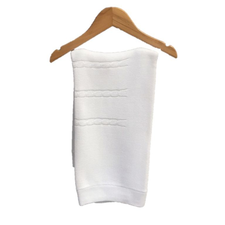 Manta Tricot Trançada Branca