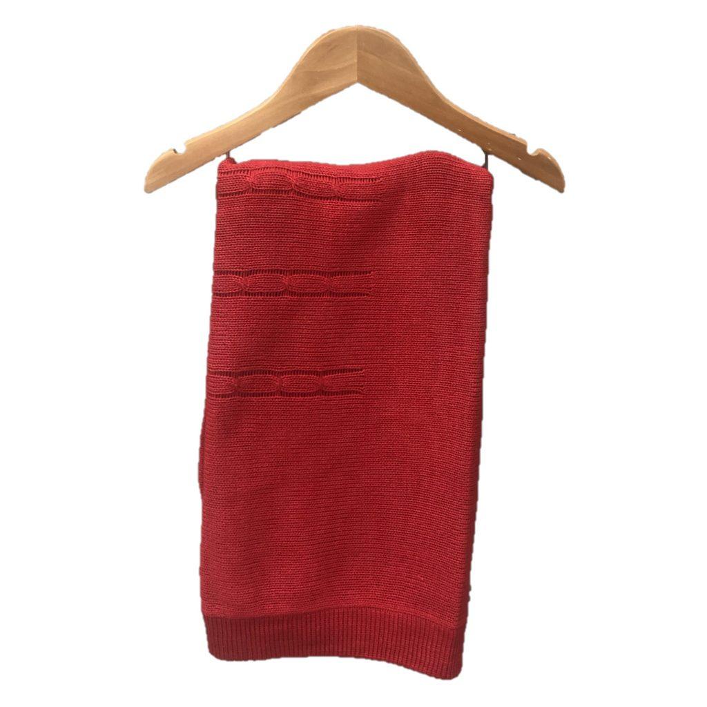 Manta Tricot Vermelha Trançada