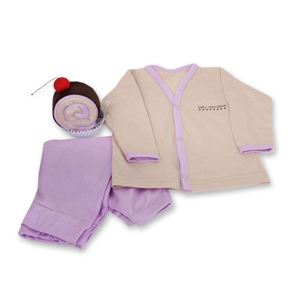 Pijama Bebê presente rocambole lilás
