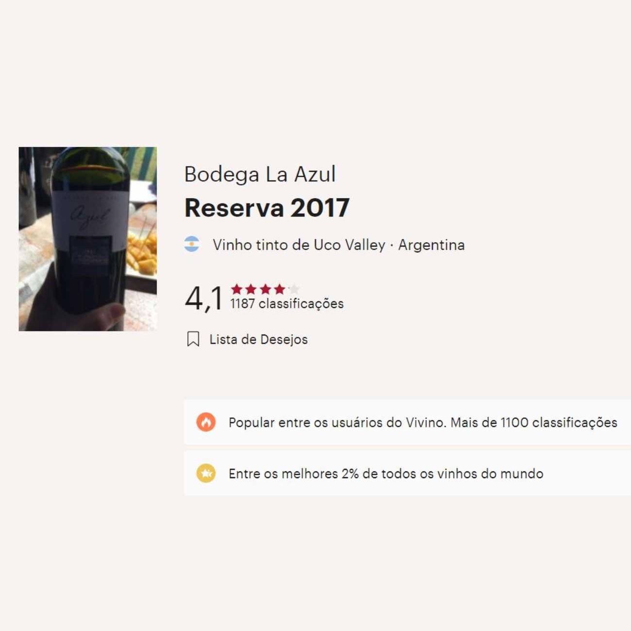 Azul Reserva - 2017