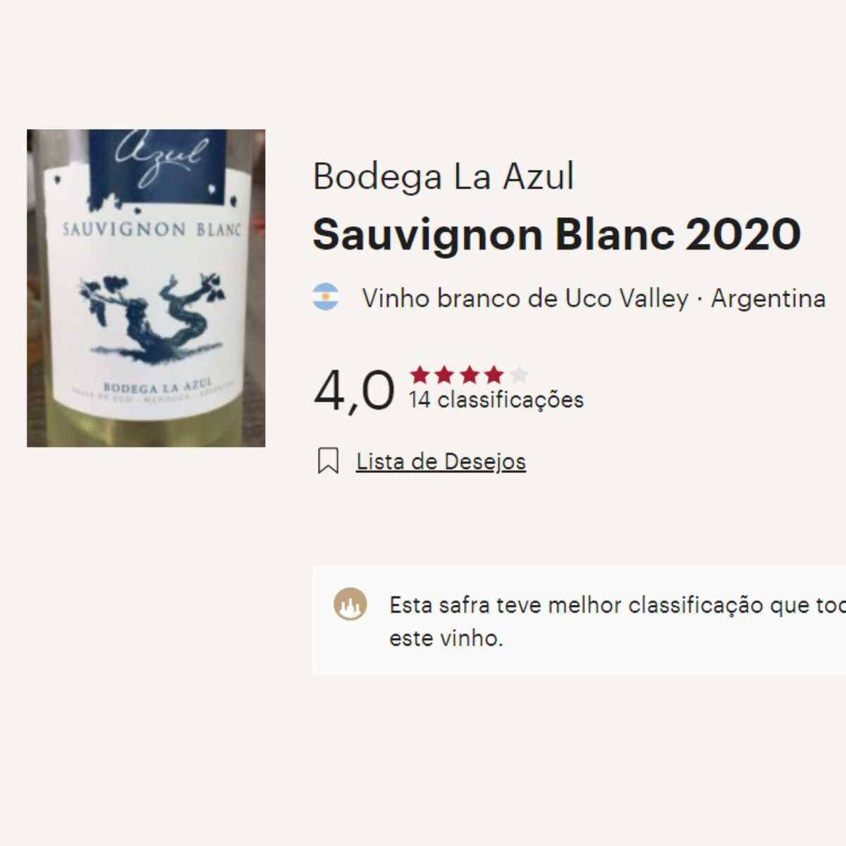Caixa com 6 unidades de Sauvignon Blanc 2020