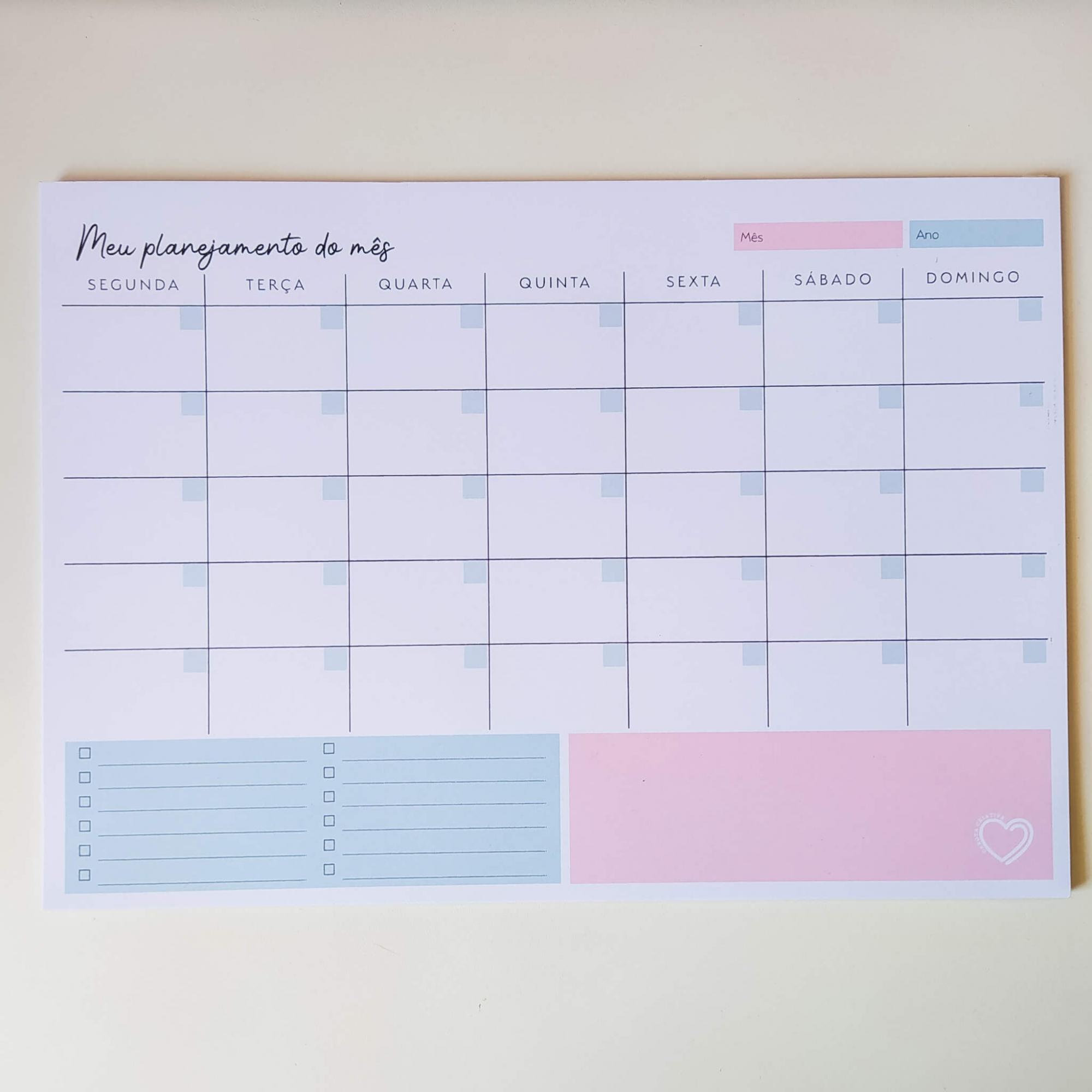 Bloco Meu planejamento do mês