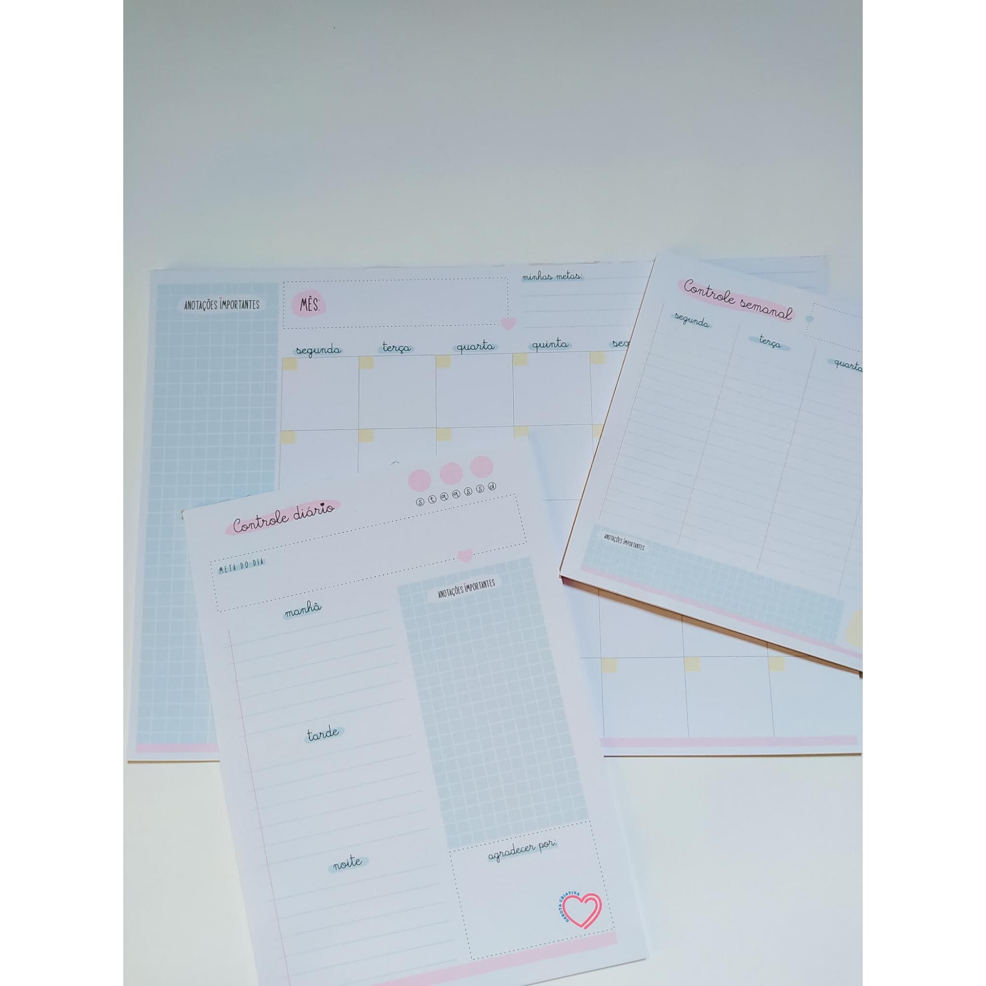 Kit de blocos Controle Diário Semanal e Mensal