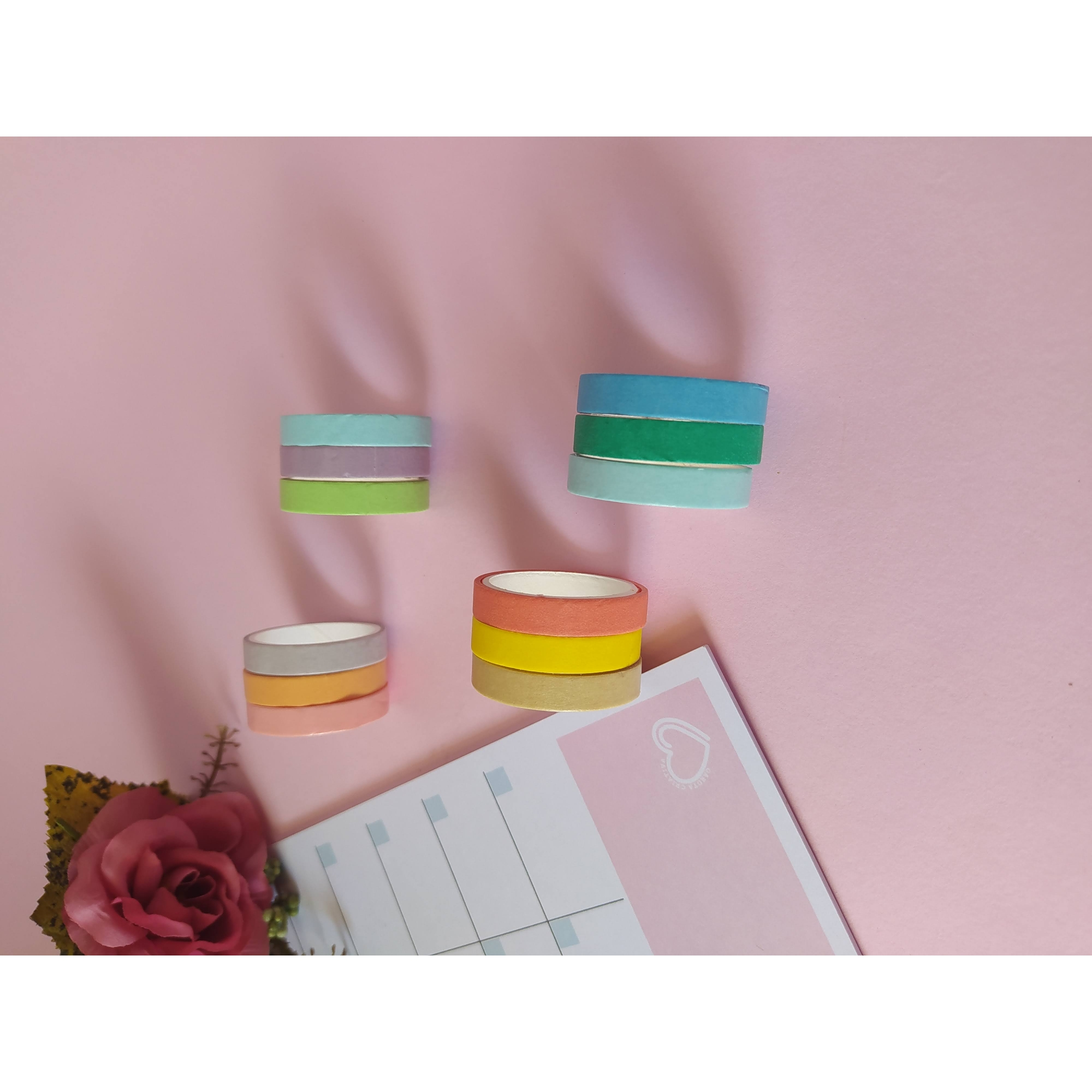 Washi Tape Fine Candy Colors - 12 cores