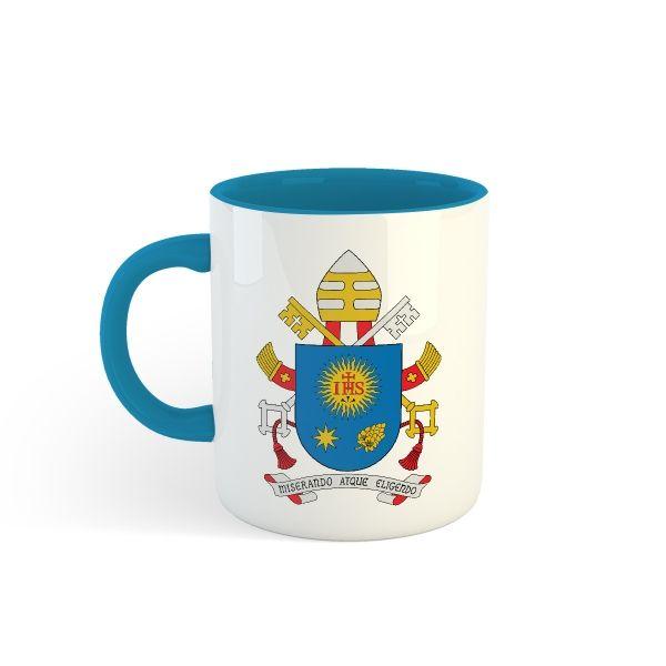 Caneca Brasão - Papa Francisco - Fundo e Alça coloridos