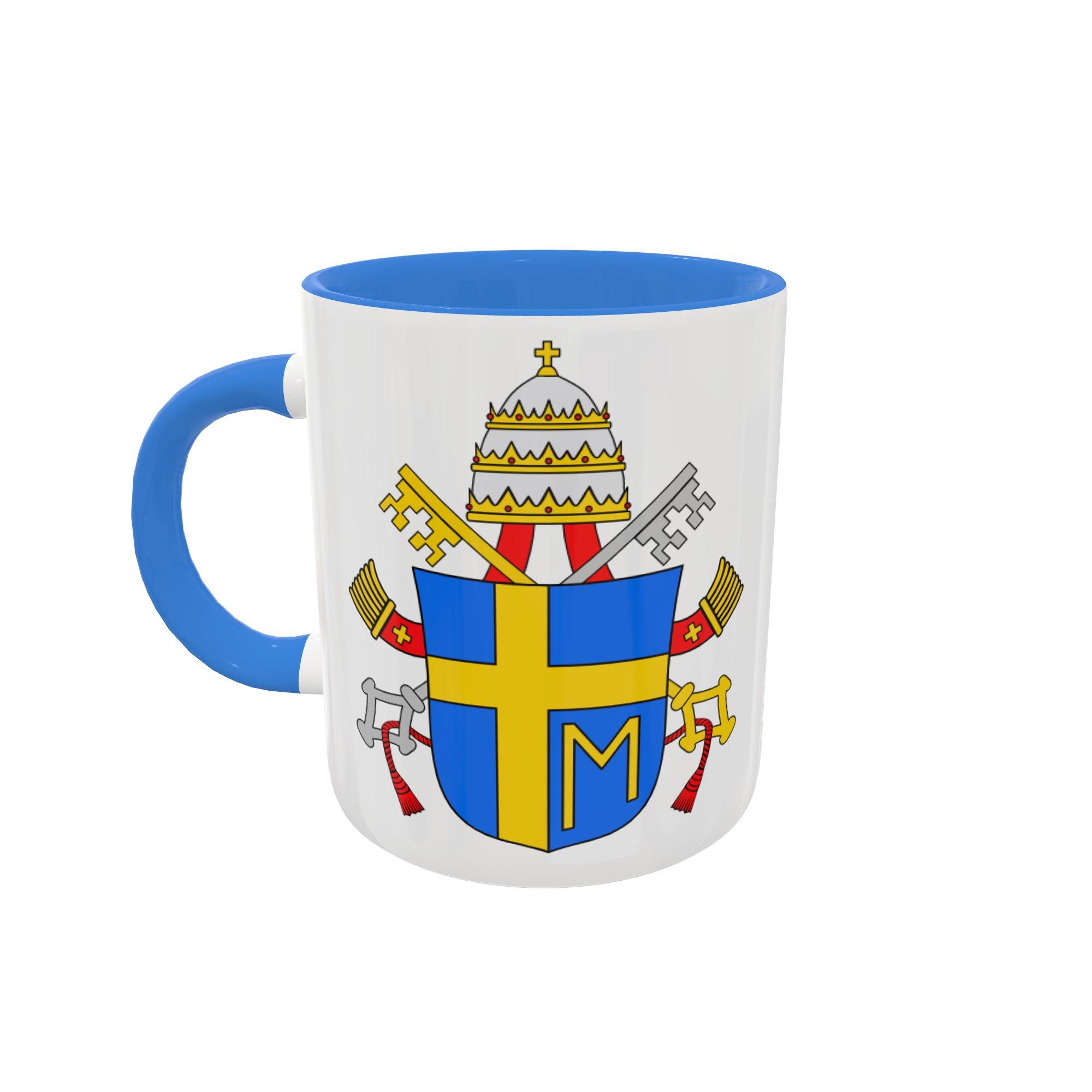 Caneca Brasão - Papa João Paulo II - Fundo e Alça coloridos