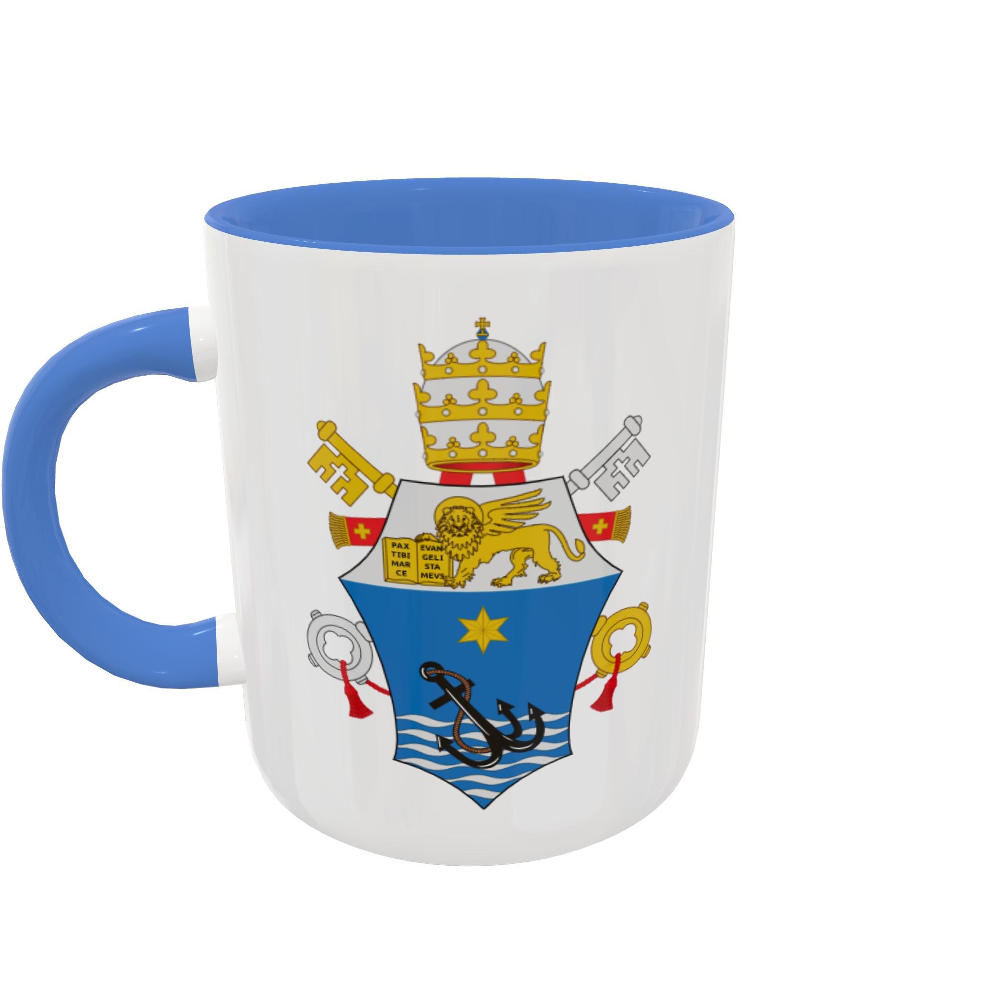 Caneca Brasão - Papa Pio X - Fundo e Alça coloridos
