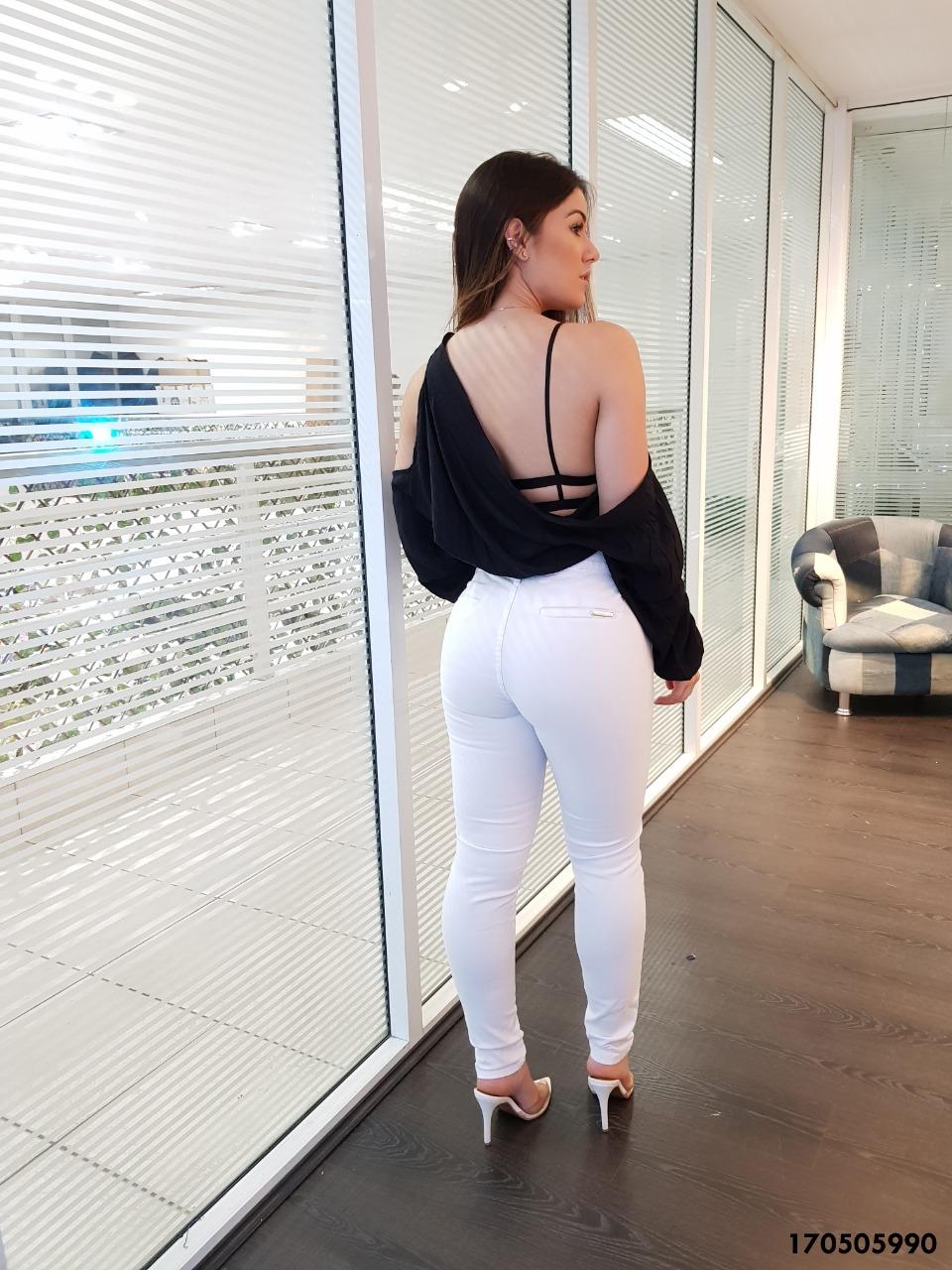 CALÇA JEANS SKINNY BRANCA BLACK WHITE