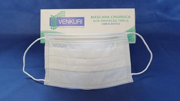 Máscara Cirúrgica Alta Proteção Tripla - Venkuri - CX 50 Unidades