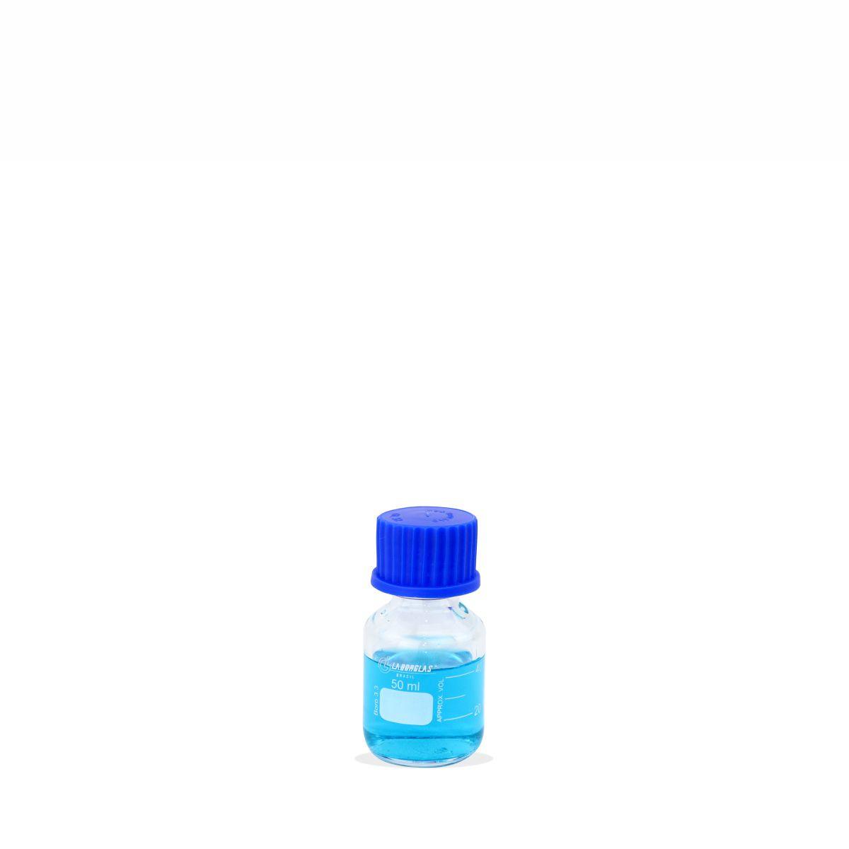 Frasco Reagente Graduado com Tampa Rosca Anti-gotas Azul 50 mL