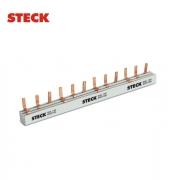 Barramento (Pente) Fase DIN  Steck  Trifásico  12 Polos  80A  S3F210B