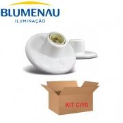 KIT 10 Plafons Blumenau PVC Plafonier E27 Soquete Porcelana Branco