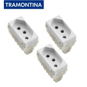 KIT 3 Módulos Tomada 2P+T  Tramontina  10A  250V   57115/030  Branco