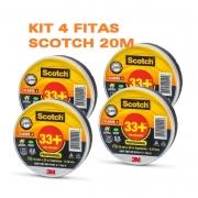KIT  4 Fitas Isolantes 3M Scotch 33+ 20 metros Preta