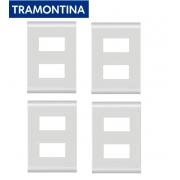 KIT  4 Placas 4 x 2 Com 2 Postos (Módulos) Distantes Tramontina Liz