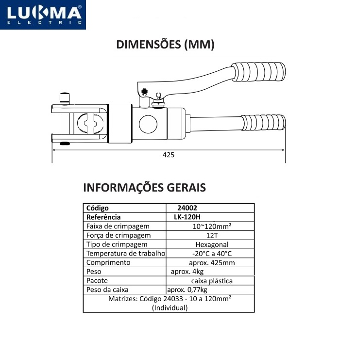 Alicate Hidraulico Lukma  LK-120C Comp 10 - 120 mm