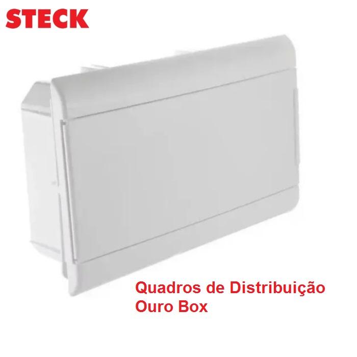Centrinho Distribuição Steck de Embutir para 16 Disjuntores DIN  Ouro Box Porta Branca