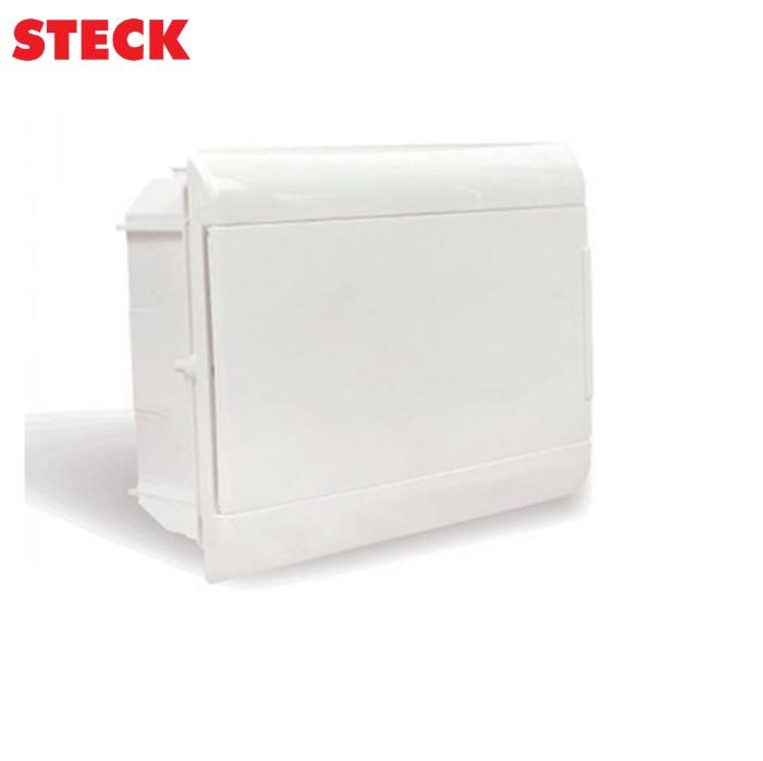 Centrinho Steck de Embutir para 12 Disjuntores DIN Ouro Box Porta Branca
