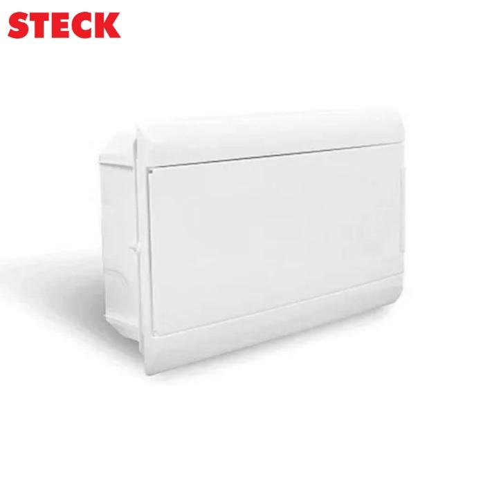 Centrinho Steck de Embutir para 16 Disjuntores DIN  Ouro Box Porta Branca