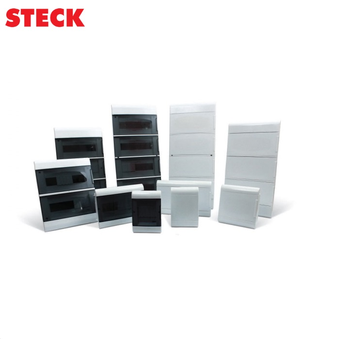 Centrinho Steck de Embutir para  8 Disjuntores DIN  Ouro Box  Porta Branca