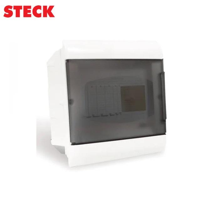 Centrinho Steck de Embutir para  8 Disjuntores DIN  Ouro Box Porta Fumê