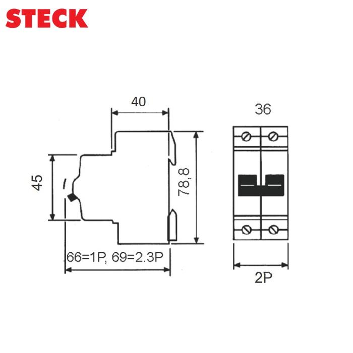 Disjuntor Steck DIN Bipolar Curva C 3kA  25A