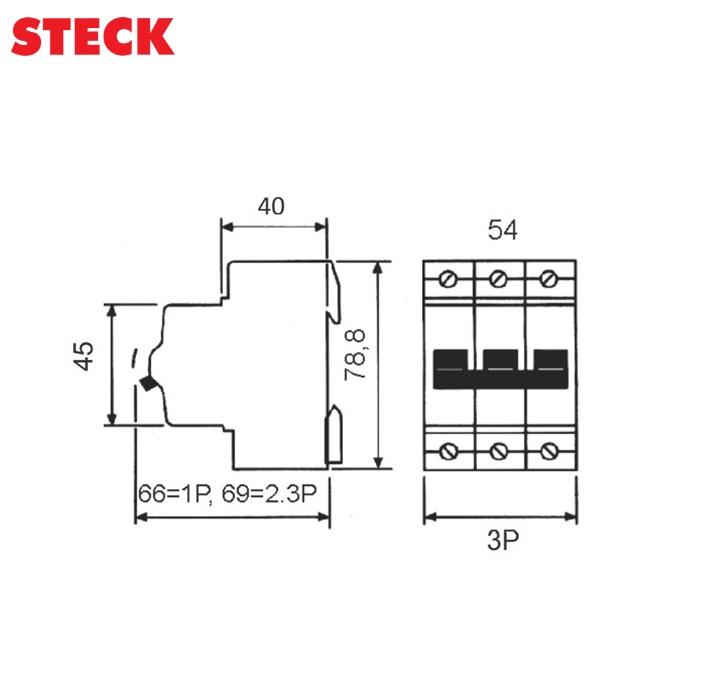 Disjuntor Steck DIN Tripolar Curva C 3kA  10A