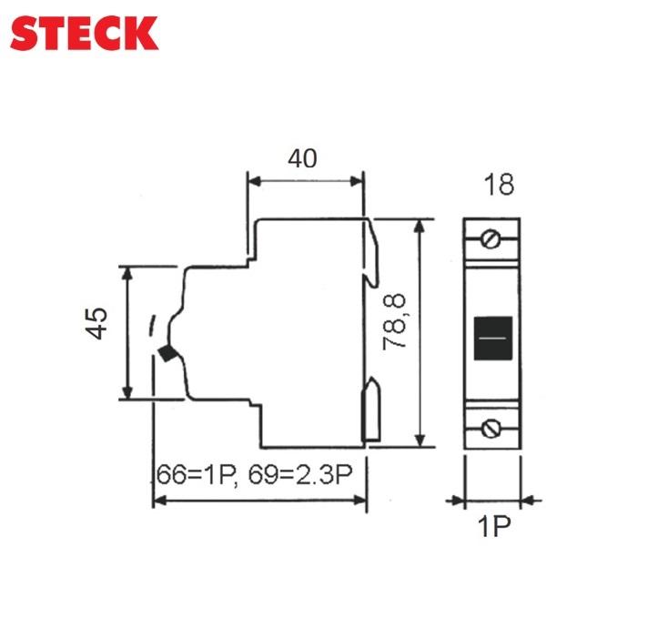 Disjuntor Steck DIN Unipolar Curva C 3kA  10A