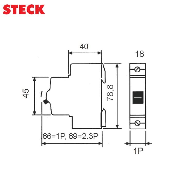 Disjuntor Steck DIN Unipolar Curva C 3kA  50A