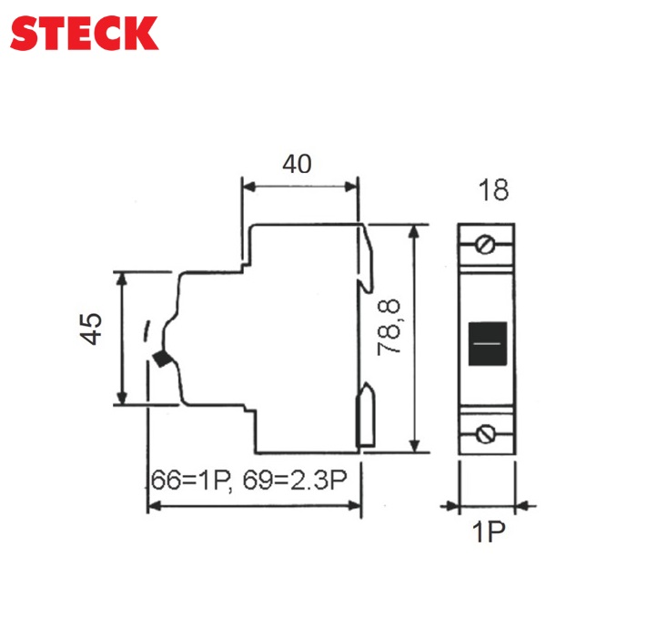 Disjuntor Steck DIN Unipolar Curva C 3kA  63A