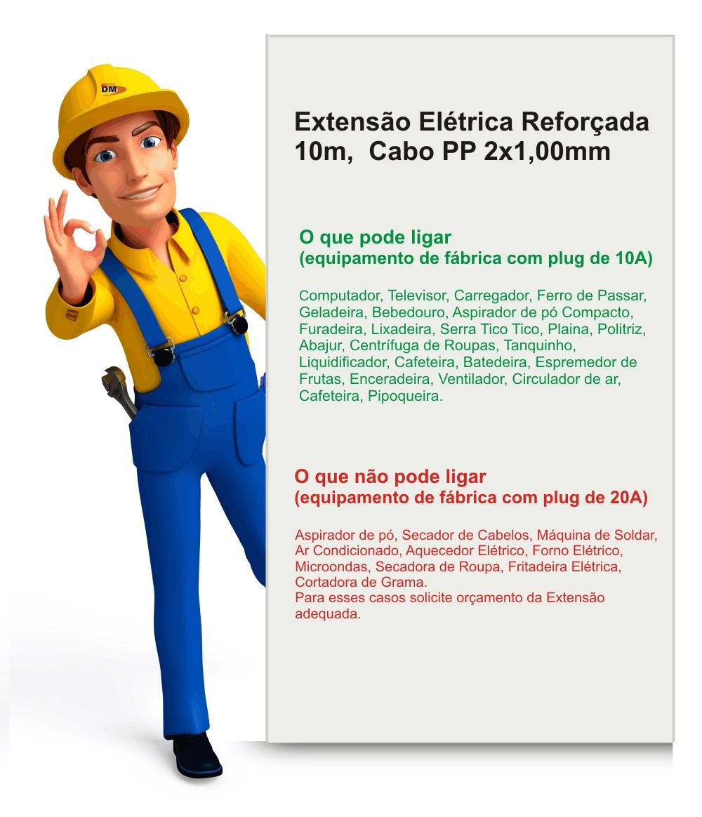Extensão Elétrica Reforçada 10 Mt Cabo PP 2x1,0mm C/ Tomada 10/20 + Plug 10A
