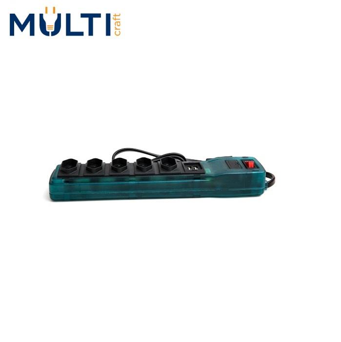 Filtro de Linha Multicraft  Power Line 5 Tomadas Azul Com 2 Saídas USB  10A