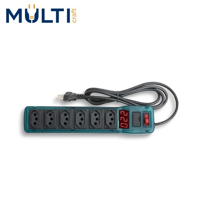 Filtro de Linha Multicraft  Power Line 6 Tomadas Azul Com Voltímetro Digital 10A