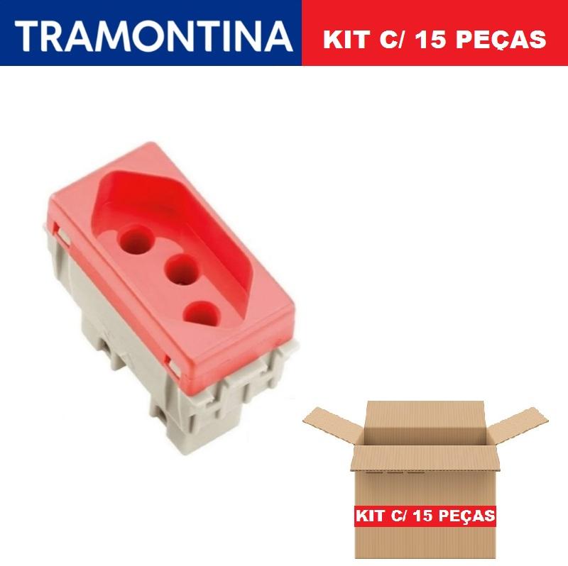 KIT 15 Módulos Tomada 2P+T  Tramontina  20A  250V  57115/033  Vermelho