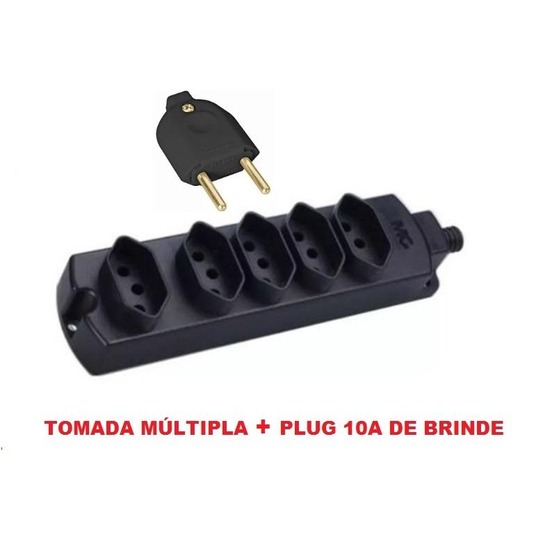 Kit  1 Tomada Barra Múltipla Régua 5 Tomadas + Plug 2p 10A Tramontina - Brinde