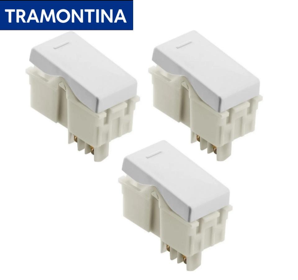 Kit 3 Módulos Interruptor Simples Branco Tramontina