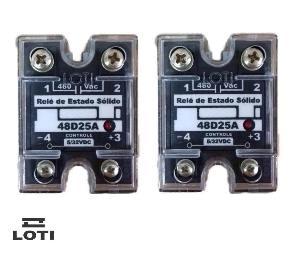 KIT 2 Reles de Estado Sólido Loti 48D25A - 25A- 480vac - Controle 5/32VDC