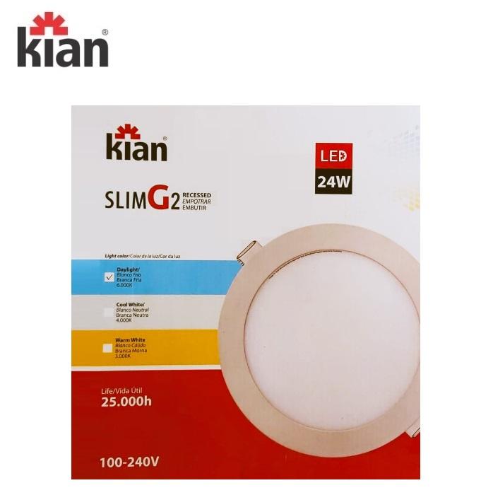 KIT 3 Luminárias Led Slim Kian Redonda de Embutir 24W 6000K  Bivolt